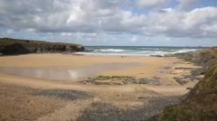 Beach near Newquay Cornwall Treyarnon Bay uk Stock Footage