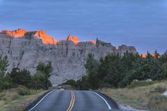 Badlands loop road early in the morning Stock Photos