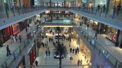 Tourist people enjoy interior hall shopping mall famous Dubai banner neon sign  Arkistovideo