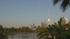 Burj Khalifa skyscraper famous Dubai city exotic park palm tree flock bird fly  Stock Footage