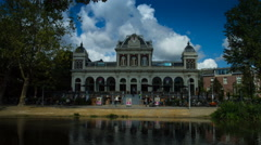 Time warp of a building in the Vondelpark in Amsterdam - stock footage