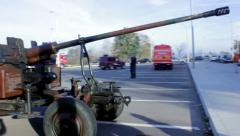 Old army cannon Stock Footage