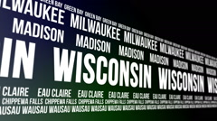Wisconsin State and Major Cities Scrolling Banner Stock Footage