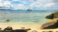 Single Sailingboat in tropical Reef // HQ Stock Footage