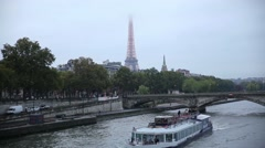 Paris Eiffel tower view from Alexander bridge Stock Footage