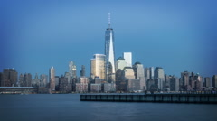 Beautiful Manhattan skyline at sunset. Timelapse.  Stock Footage