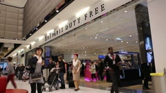 Duty free shop inside the Paris airport Stock Footage