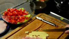 Man prepares salad - man sliced cheese Stock Footage