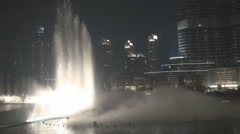 Water show famous Dubai fountain dancing projector jet gush enjoy tourism night Stock Footage
