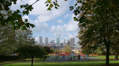 Birmingham City centre seen from Highgate park, Deritend. Stock Footage