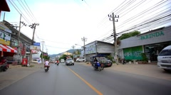 Thailand, 19 july 2014 Motion Thai street on motobike. Video from Koh Samui. HD Stock Footage