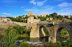 tagus river passing through toledo, spain - stock photo
