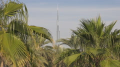 Burj Khalifa silhouette tower day among palm tree green leaf Dubai landmark icon Stock Footage