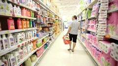KOH SAMUI, THAILAND 19 JULY 2014. Supermarket interior with buyers select items Stock Footage