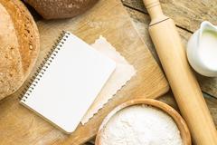 Recipe and menu background. - stock photo