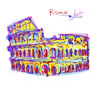 famous place of Rome Italy, original drawing in rainbow colours - stock illustration