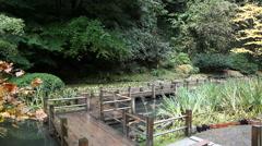 Panning of Wooden Walkway Bridge in Portland Japanese Garden in Autumn 1080p Stock Footage