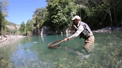 fly fisherman catching a fario trout in river - stock footage