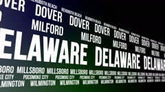 Delaware State and Major Cities Scrolling Banner Stock Footage