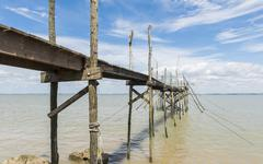 Jetty for fishing and angling in gironde Stock Photos