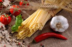 traditional ingredients for seasoning pasta - stock photo