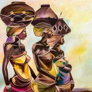 tribal girls - stock illustration