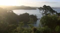 Sun setting over the scenic Tutukaka coastline - stock footage