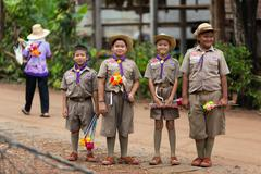 thai boyscouts group - stock photo