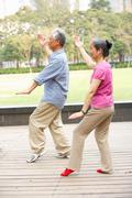 Senior chinese couple doing tai chi in park Kuvituskuvat