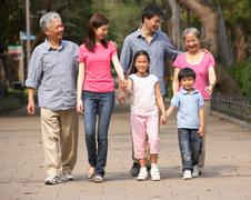 Portrait of multi-generation chinese family walking in park together Kuvituskuvat