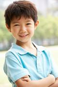 head and shoulders portrait of chinese boy - stock photo