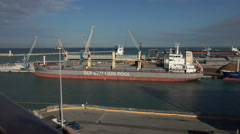 Livorno Italy Port modern cargo bulk ship 4K 005 Stock Footage
