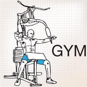 illustration of muscular man exercising on a lat machine in gym - stock illustration