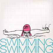 Illustration of girl swimming in butterfly stroke style Stock Illustration