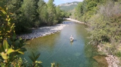 upper view of fly fisherman in river - stock footage