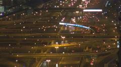 Aerial view Sheikh Zayed Road busy traffic car street Dubai crowd freeway night Stock Footage