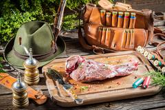 Preparing venison by a hunter Stock Photos