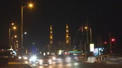 Timelapse traffic car busy street jumeirah distric Burj Al Arab landmark night Stock Footage