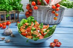 Healthy salad made ??with shrimp and vegetables Stock Photos