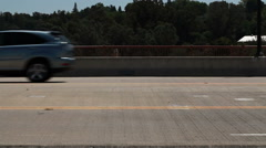 Car Traffic Moving Across Frame Four Lanes 2 Stock Footage