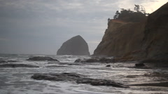 Crashing Waves in Cape Kiwanda in Pacific City Oregon Closeup 1920x1080 Stock Footage