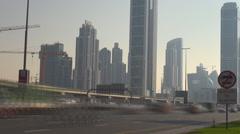 Timelapse traffic car freeway Dubai town Sheikh Zayed Road sunny day travel trip Stock Footage
