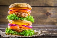 Double-decker burger made ??from vegetables and beef Stock Photos