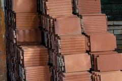 roof tiles made of terracotta - stock photo