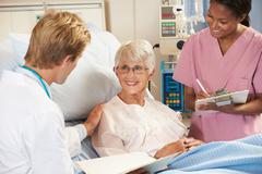 Doctor with nurse talking to senior female patient in bed Stock Photos