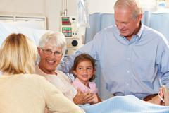Family visiting senior female patient in hospital bed Stock Photos