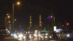 Crowded traffic car street Jumeirah district Burj Al Arab building Dubai mosque  Stock Footage