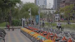 Ubike - bike parking at da-an park Stock Footage
