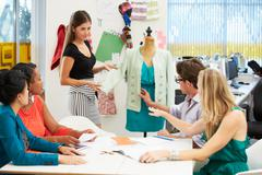 meeting in fashion design studio - stock photo