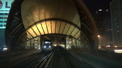 Timelapse POV point of view metro train line Dubai downtown skyscraper driving  Stock Footage
